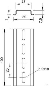 OBO Bettermann Hutschiene gelocht 2069 2M GTPL (2 Meter)