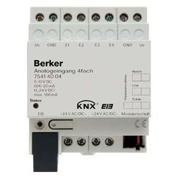 Berker Analogeingang 4fach REG in stabus EIB lichtgrau 75414004