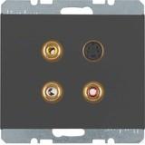 Berker Steckdose 3xCinch/S-Video anthrazit matt 3315327006