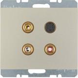 Berker Steckdose 3xCinch/S-Video edelstahl lackiert 3315327004