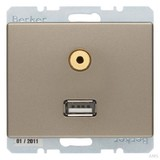 Berker Steckdose USB/3,5mm Audio hellbronze lackiert 3315399011