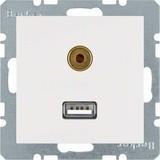 Berker Steckdose USB/3,5mm Audio polarweiß glänzend 3315398989