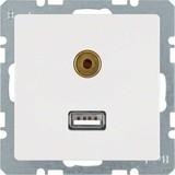 Berker Steckdose USB/3,5mm Audio polarweiß samt 3315396089