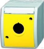 Busch-Jaeger Leergehäuse grau/blaugrün Deckel gelb,beschri. 2533 WN-15-53
