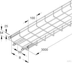 Niedax Gitterrinne U-förmig,54x200x3000 MTC 54.200 V (3 Meter)